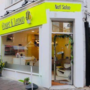 ginger and lemon nail salon shop front