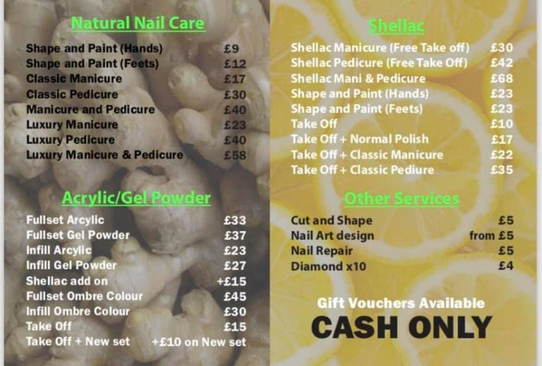 ginger and nail salon price list