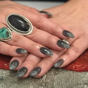 nail extensions with sparkling design